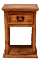 Rustic Tall Nightstand Western Real Solid Wood Cabin Lodge Bedside Table - $226.71