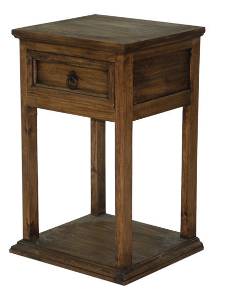 Rustic Promotional Nightstand Medio Finish Cabin Lodge Dark Stain