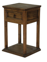 Rustic Promotional Nightstand Medio Finish Cabin Lodge Dark Stain - $178.19