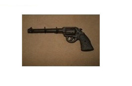Western Cast Iron Gun Shaped Hook Rust Color Decor - $18.37