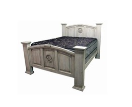 KING MANSION WHITE WASH WITH STAR Rustic Western Real Solid Wood Cream N... - $1,187.99