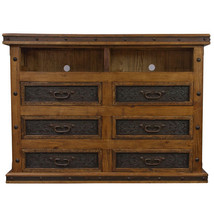 Tooled Leather TV Dresser TV Stand Rustic Western Cabin Lodge Real Solid Wood - $1,385.99