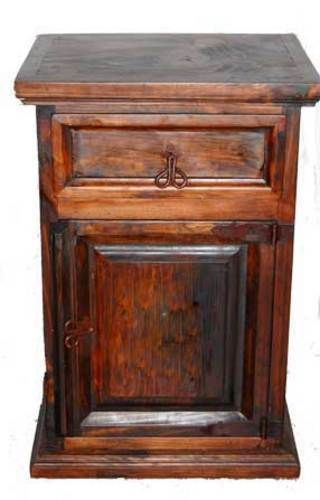 Rustic Dark Finished Nightstand Western Cabin Lodge Solid Wood Bedroom Bedside