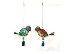 Blue and Yellow Metal Wind Chime Bird with Glass Wings and Metal Bell * ... - $42.56