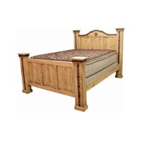 Western Alamo Iron Bed King Queen Rustic Metal Detail Real Solid Wood Ru... - $989.99+