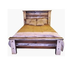 Rustic Slatted King Bed Solid Wood Free Shipping Western Shabby Chic Cream - $1,138.49