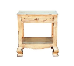 Rustic Heirloom End Table Western Shabby Chic White Cream Aged Solid Wood - $252.45