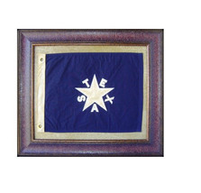 Small Blue Texas Flag Framed with Matting Aged De Zavala Real Rustic - $197.99