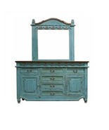 Turquoise Grand Dresser With Mirror Real Solid Wood Rustic Western Cabin... - $1,682.01