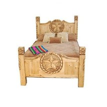 Rustic Lone Star Texas Rope Bed Real Wood King Or Queen Western Lodge Cabin - $1,088.99+