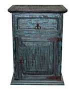 Rustic Mansion Turquoise Scraped Nightstand Western Blue Antiqued Wood Aged - $267.29