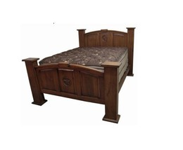 Rustic Mansion Bed with Star Dark King Queen Western Real Solid Wood Cab... - $1,187.99+
