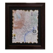 Burned Map 1845 Republic of Texas By John Davis, Western Art Picture Pri... - $247.49