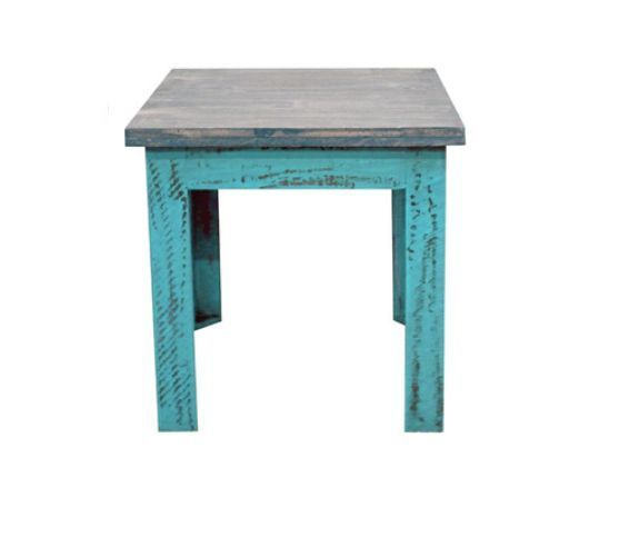Turquoise Scraped Rectangle Wood End Table * Solid Wood * Free Shipping * Rustic