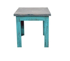 Turquoise Scraped Rectangle Wood End Table * Solid Wood * Free Shipping ... - $212.84