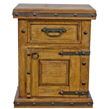 Rustic One drawer One Door Nightstand End Table Cabin Lodge Western Soli... - $494.01