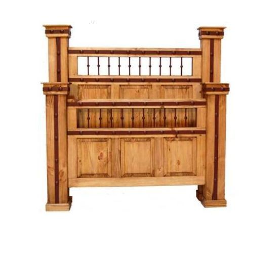 Rustic King Queen Hierro Bed Western Cabin Lodge Solid Wood Iron Detail