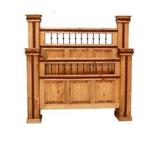 Rustic King Queen Hierro Bed Western Cabin Lodge Solid Wood Iron Detail - $1,088.99+