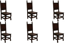 Set of Six Dark Yucatan Wood Seat Chair - Solid Wood - Rustic - Western - - $1,058.24