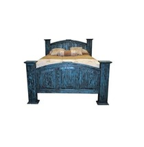 Queen Mansion Turquoise Scraped Bed Real Solid Wood  Rustic Western Dist... - $989.01
