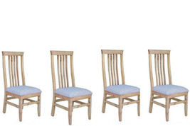 Set of Four Romeo Padded Seat Chair Solid Wood Dining Room Cabin Ldoge - $593.99