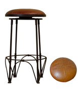 """26"""" Leather Button Top Swivel Barstool Heavy Iron Base Free Shipping - $386.04"""