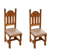 Set of Two Star Padded Seat Chair Solid Wood Rustic Western - $475.19