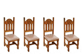 Set of Four Star Padded Seat Chairs Real Solid Wood Rustic Western Cabin... - $623.69