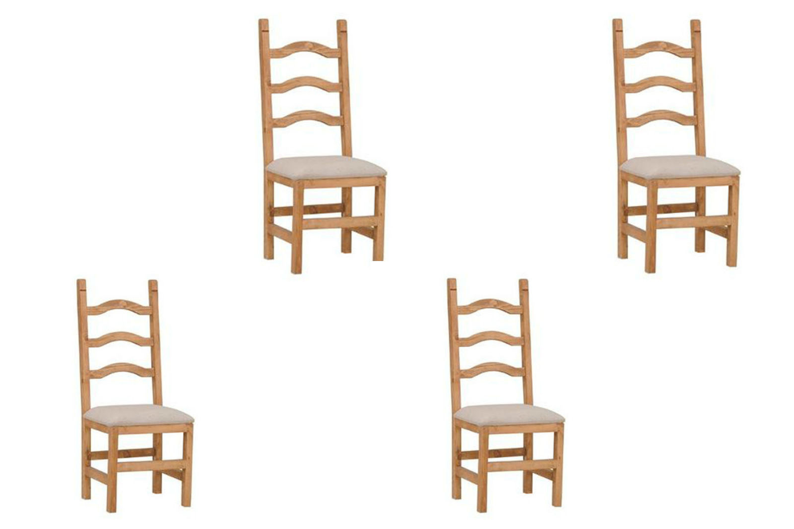 Set of Four Ladder Back Padded Seat Chair - Solid Wood - Free Shipping - Dining