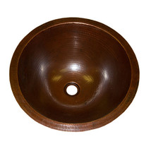 "Rustic Smooth Real Copper Round Sink 17"" Western Metal Cabin Lodge Home Decor - $173.25"
