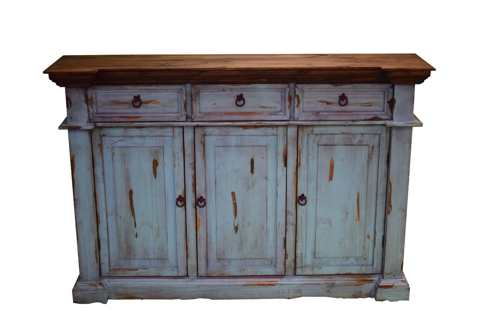Rustic Turquoise Sofa Entry Table TV Stand Console Real Wood Slim Cabin Lodge