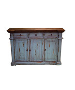 Rustic Turquoise Sofa Entry Table TV Stand Console Real Wood Slim Cabin ... - $678.15