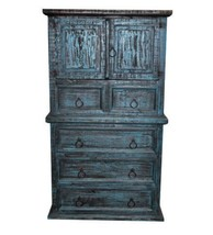 Rustic Mansion Turquoise Scraped Chest Western Blue Antiqued Real Solid ... - $841.49
