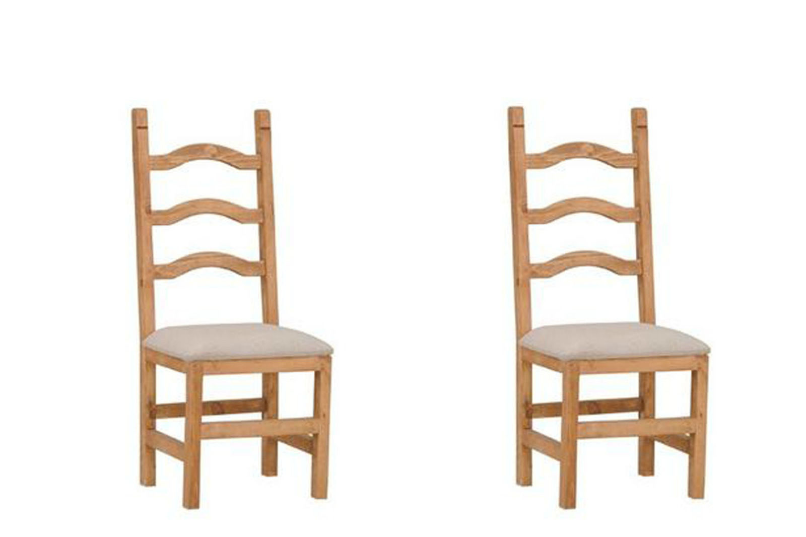 Set of Two Ladder Back Padded Seat Chair Real Solid Wood Dining Cabin Lodge