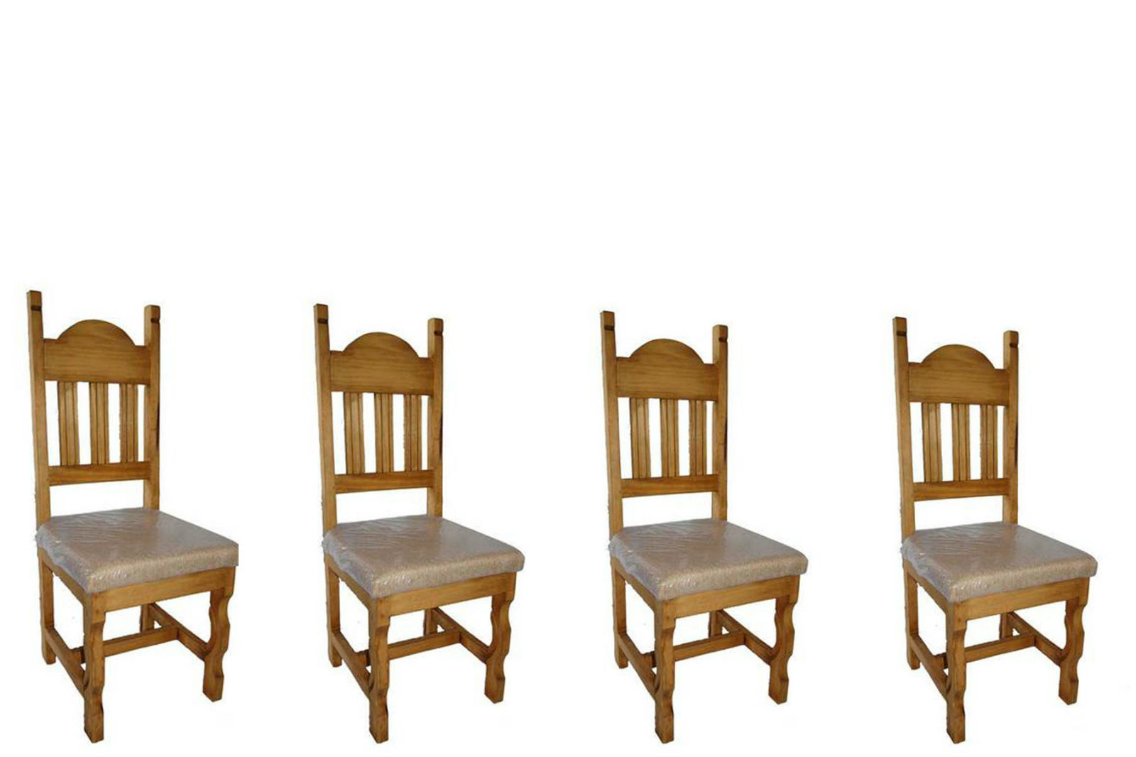Set of Four Padded Seat Chair Real Solid Wood Rustic Western Cabin Lodge