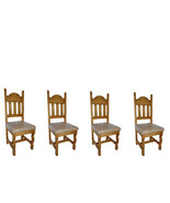 Set of Four Padded Seat Chair Real Solid Wood Rustic Western Cabin Lodge - $623.69