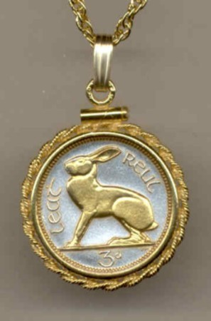 Ireland 3 pence (Rabbit) gold on silver coin pendant necklace