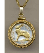 Ireland 3 pence (Rabbit) gold on silver coin pendant necklace - $97.00