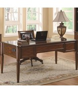 Transitional Five Drawer Table Desk Chestnut - $1,043.89