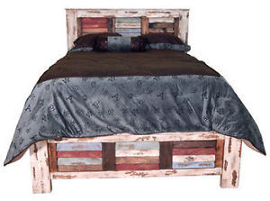 Rustic Multiple Colored Louvered Queen Bed Western Real Wood Cabin Lodge Shabby