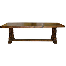 12' Laguna Pedestal Lacquered Table Real Solid Wood Rustic Western Cabin... - $2,375.99