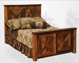 King Reclaimed Barnwood Barndoor Style Bed * Solid Red Oak * Rustic * We... - $2,499.49