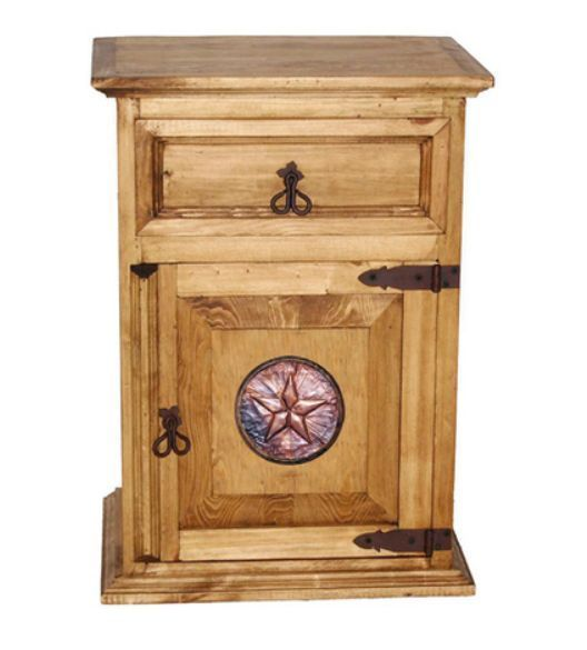 Rustic Mansion Copper Star Nightstand * Western * Honey Pine * Solid Wood *