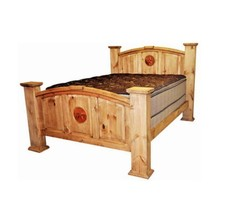 Rustic Mansion Bed With Copper Star Inlay Real Wood Western Lodge Cabin - $1,187.99+