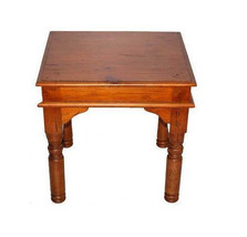 Rustic Estate End Table Real Solid Wood Western Cabin Lodge Medium Stain - $207.89