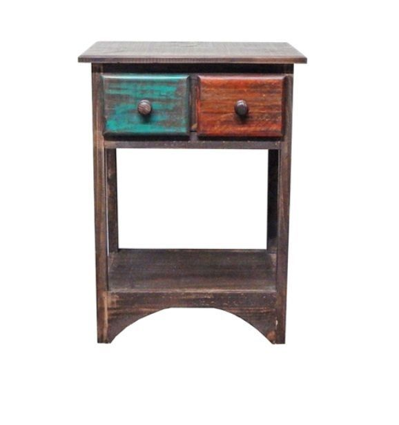 Rustic Arco Multi Color Open Nightstand Western Real Solid Wood Cabin Lodge