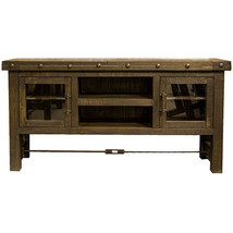 "60"" Dark Oak TV Wall Unit TV Console Glass Door Real Wood Rustic Western... - $777.15"