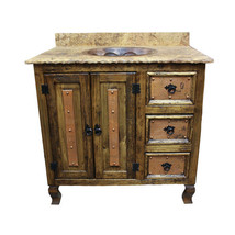 "30"" Stone Top Vanity Copper Doors Single Sink Rustic Western Real Solid ... - $1,880.01"