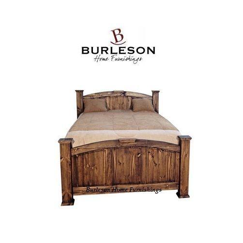 Rustic Medium Wax Economy Mansion Bed Dark Walnut Finish Solid Wood