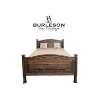 Rustic Medium Wax Budget Bowed Bed Dark Walnut Finish Solid Wood - $890.99+